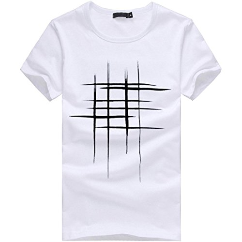 Forthrey Summer Hot Sale! Mens Casual Slim Fit Short Sleeve T-Shirt Plain Henley Crew-Neck Shirt (White, US M = Asia L)
