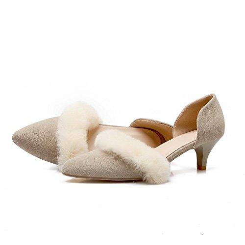Adee Mujer Pantalones kitten-heels esmerilado bombas zapatos Beige