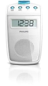 Philips AE2330/00 - Radio de ducha (antideslizante y resistente a salpicaduras, sintonizador digital FM), color blanco