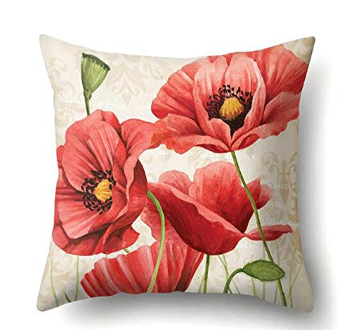 QINU KEONU Oil Painting Flower Red Poppy Cotton Linen Throw Pillow Case Cushion Cover Home Sofa Decorative 18 X 18 Inch Courtyard Farm Decoration (34)
