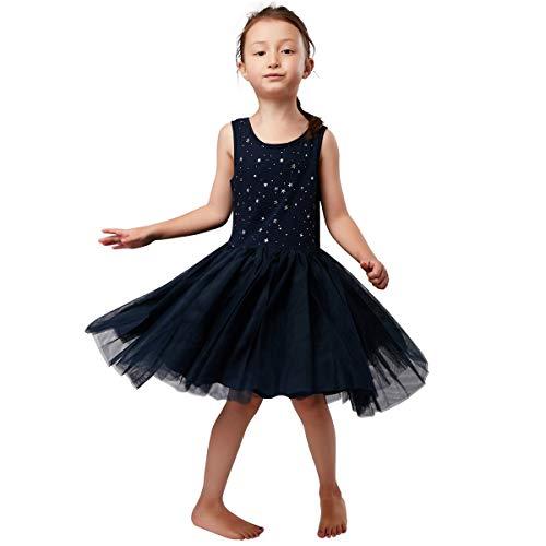 Little Kids Girls Princesses Sleeveless Navy Tulle Skirt Party Dance Dress in Metallic Star Print Fully Lined 2T-8T -
