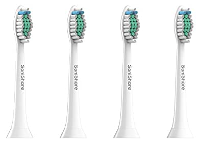 SoniShare Premium Diamond Clean Replacement Heads for Philips Sonicare Toothbrushes [4, 8, 12, 20 Packs Available]