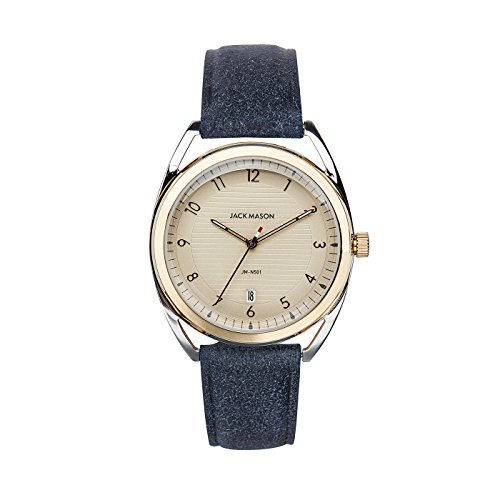 Jack Mason Women's Watch Deck Two Tone 3H Date Champagne Dial w/Navy Leather Strap