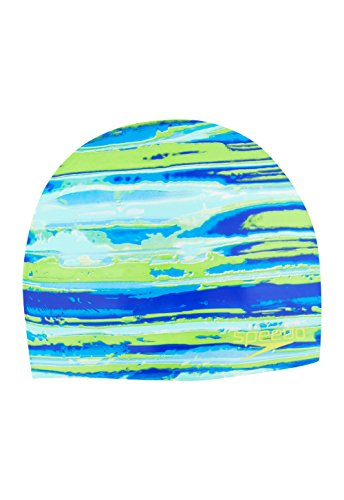 Speedo Moving Tides Swim Cap, Green, One Size