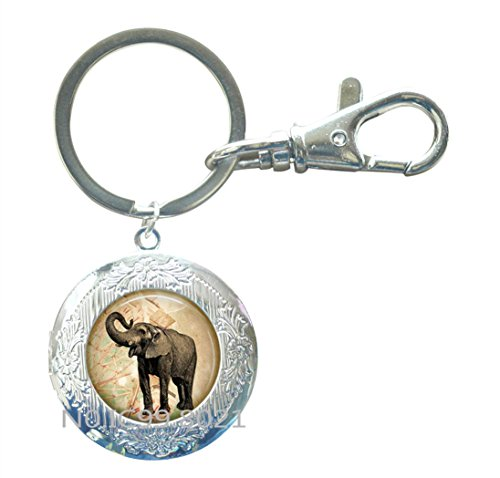 Elephant jewelry African Elephant Locket Keychain Kawaii elephant Locket Key Ring cute elephant art Indian elephant jewelry Wild Animal from Africa jewelry.XT247 (A)