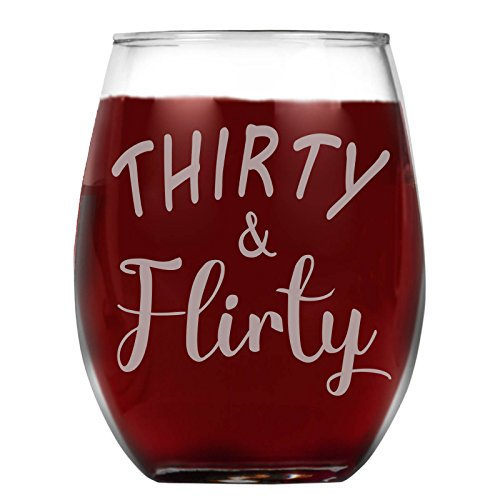 Shop4Ever Thirty & Flirty Laser Engraved Stemless Wine
