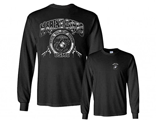 Marines Long Sleeve T-Shirt Marine Corps USMC Globe Tee Kicking Ass Since 1775 Military Clothing, Black, Medium Marines Mens Tee