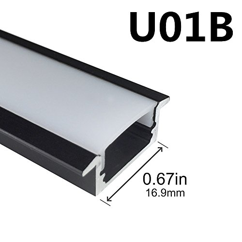 LightingWill 5-Pack 3.3ft/1M 9x23mm Black U-Shape Internal Width 12mm LED Aluminum Channel System with Cover, End Caps and Mounting Clips Aluminum Extrusion for LED Strip Light Installations-U01B5 by LightingWill (Image #2)'