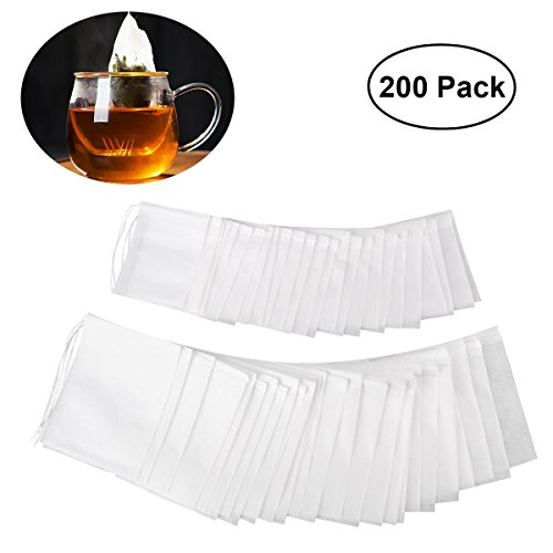 OUNONA 200pcs Drawstring Tea Bag Filter Paper Empty Tea Pouch Bags for Loose Leaf Tea Powder Herbs 2 different sizes(3.5in 2.8in and 2.8in 2.2in) by OUNONA