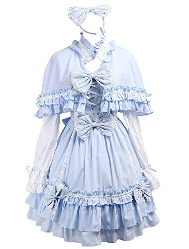 Antaina Blue Cotton Bows Ruffle Sweet Victorian Lolita Dress with Cape Headware,M