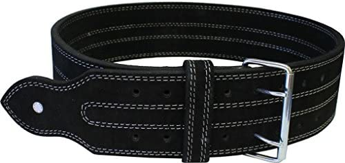 Leather Power Weight Lifting Belt- 4 Black XX Large