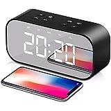 ساعة منبه لاسلكية من Tobeape®، ضوء LED مكبر صوت مع ساعة منبه للوقت العسكري مدمجة، مكبر صوت لاسلكي، مرآة، شاشة ثنائية…