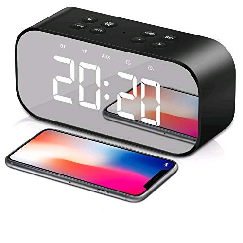Tobeape® Wireless Alarm Clock, Speaker LED Light with Built-in Military Time Alarm Clock, Wireless Speaker, Mirror, Dual-Alarm Dimmable Display, Hands-Free Calling, Micro USB Charging - Black