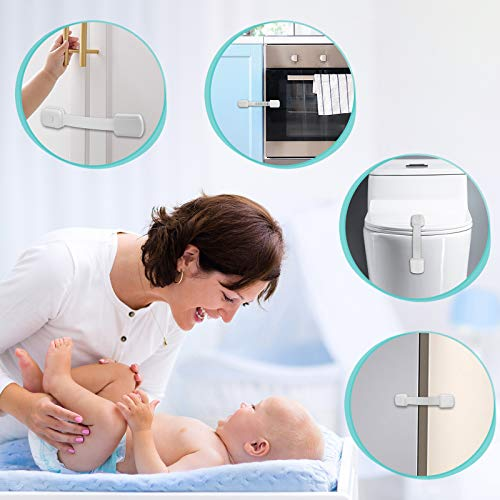 41S3QW wH6L 16 Pack Cabinet Locks Baby Safety Kit, Child Safety Cabinet Locks, Baby Proofing Latches for Cabinets and Drawers, Toilet, Fridge & More. Adjustable Strap Size with Strong Adhesive    Product Description