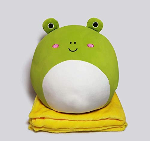 GOONEE Stuffed Animal - Cute Fat Plush Animal Pillows Kawaii Cat Frog Penguin Dog Pig Toys 2 in 1 Pillow Blanket Gift for Children - Pillow W Big Blanket Frog - Moose Squirrel Sloth Cow