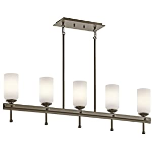 Kichler Lighting 42945SWZ Ladero 5-Light Linear Pendant, Shadow Bronze Finish with Satin Etched Cased Opal Glass
