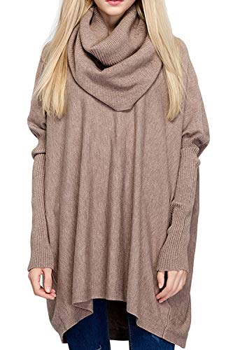 BOBIBI Women Oversized Cowl Neck Sweaters Long Sleeve Loose Fit Knitted Pullover,Khaki Dolman Sleeve Cowl Neck