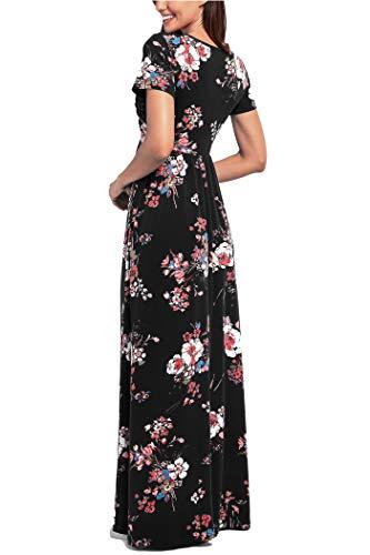 Comila Short Sleeve Maxi Dresses for Women, Summer V Neck Dress Pockets Vintage Floral Maxi Casual Dress with Pockets Elegant Work Office Long Dress Black S (US 4-6) by Comila (Image #5)