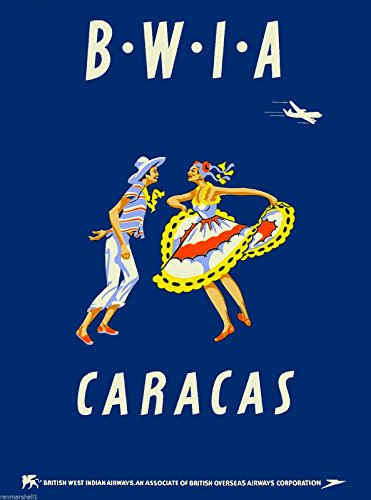MAGNET Caracas Venezuela By Airplane South America Vintage Travel Advertisement Magnet