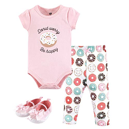 Hudson Baby Unisex Baby Bodysuit, Bottoms and Shoes, Donut Worry 3-Piece Set, 12-18 Months (18M)