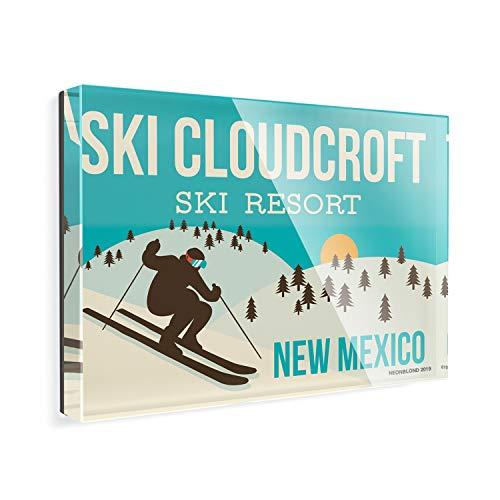 Acrylic Fridge Magnet Ski Cloudcroft Ski Resort - New Mexico Ski Resort NEONBLOND