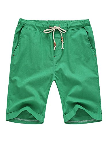 SOIXANTE Mens Casual Shorts Classic Elastic Waist Bermuda Beach Summer Shorts with Drawstring - Bermuda Mens