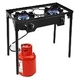 Goplus Outdoor Stove High Pressure Propane Burner 150,000BTU Portable Gas Cooker Height Adjustable