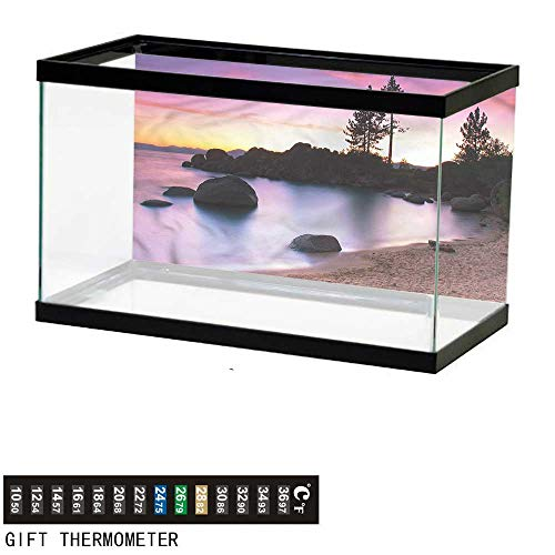 bybyhome Fish Tank Backdrop Landscape,Sandy Beach by River,Aquarium Background,36