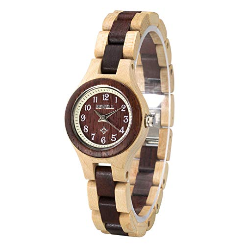 Bewell Small Dial Wooden Bangle Dress Watch Adjustable Round Quartz Wristwatches for Women (Beige and Red) from BEWELL