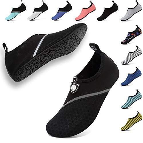 (VIFUUR Unisex Quick Drying Aqua Water Shoes Pool Beach Yoga Exercise Shoes for Men Women Pure Black 42/43)