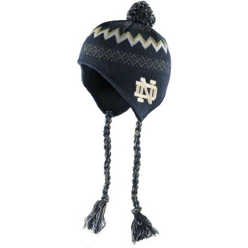 Notre Dame Fighting Irish Kids 4 - 7 Braided Knit Beanie Hat Cap With Tassels Adidas Team Colors NCAA Authentic & NEW Young Kids