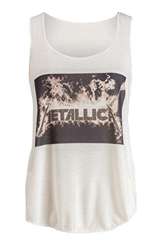 Women's Metallica White Fitness Tank Top, S to XL