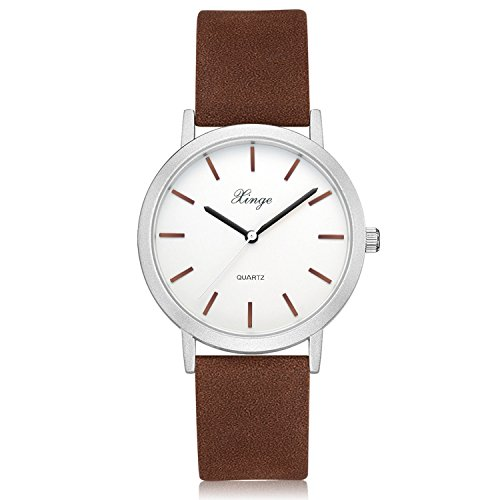 Womens Classic Casual Wrist Watch Simple Design Analog Quartz Leather Band Watches (Brown) by Xinge