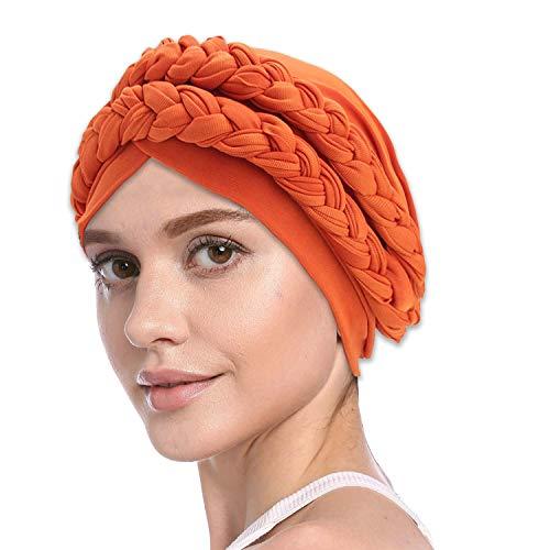 (Instant Braided Head Scarf, Silky Braid Turbans Hijab, Elegant Slip-On Hat Cap for Chemo Cancer Hair Loss, Sleeping Cap Beanie Bonnet Headwear Head Wrap for Women (Braided))