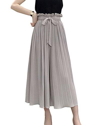Gris Ample Pantalon Fluide Large en Femme Haute Plisse Pantalon Pantalon Taille Mousseline Dcontract 6H7Ixww1