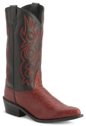Old West Men's Fancy Stitched Ostrich Print Cowboy Boot Pointed Toe Blk Cherry US