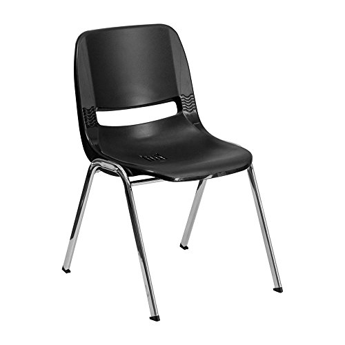 Offex OF-RUT-16-BK-CHR-GG Hercules Series 661 lb. Capacity Black Ergonomic Shell Stack Chair with Chrome Frame, 16