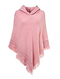 Ferand Ladies' Hooded Cape with Fringes, Crochet Poncho in Knitting Patterns