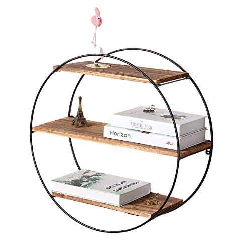 (Homode Floating Shelves, 3 Tier Geometric Round Wall Shelves Decorative Wood and Metal Hanging Shelf, Rustic Farmhouse Decor)