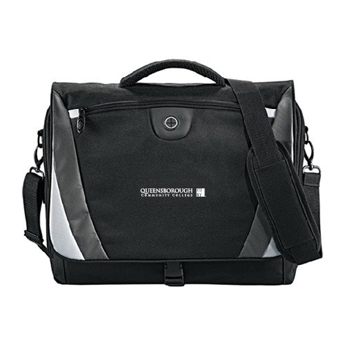Queensborough Comm Slope Black/Grey Compu Messenger Bag 'Official Logo' by CollegeFanGear