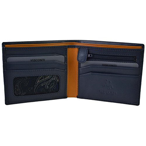 Black Blue WALLET Visconti; Colbalt Parma BOX Mustard Collection Bifold Stylish Paisley Mens by GIFT LEATHER ZwTqFP