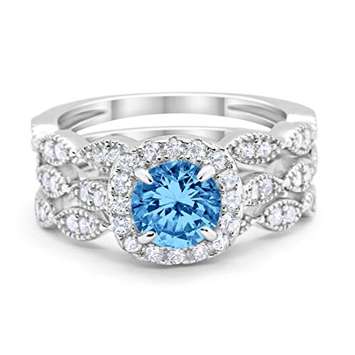 Halo Art Deco Three Piece Wedding Engagement Bridal Set Ring Band Solid Simulated Blue Topaz 925 Sterling Silver, Size-4