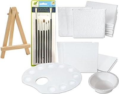 """Mini Canvas Paint set Brush Set & Palette Water Cup Color your own picture art kit 3"""" x 3"""" + 2"""" x 2"""" Canvas Panels Mini Easels"""