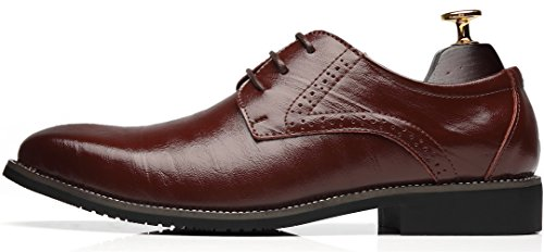 Ppxid Mens In Vera Pelle Lace Up Dress Business Brogue Scarpe Caffè