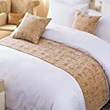 OSVINO Solid Color Chenille Soft No Fading Modern Bed Runner Bedding Scarf Protection, Gold, 260X50cm for 200cm Bed
