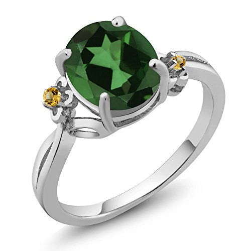 Gem Stone King 2.74 Ct Oval Green Mystic Quartz Yellow Simulated Citrine 925 Silver Ring (Size 7)