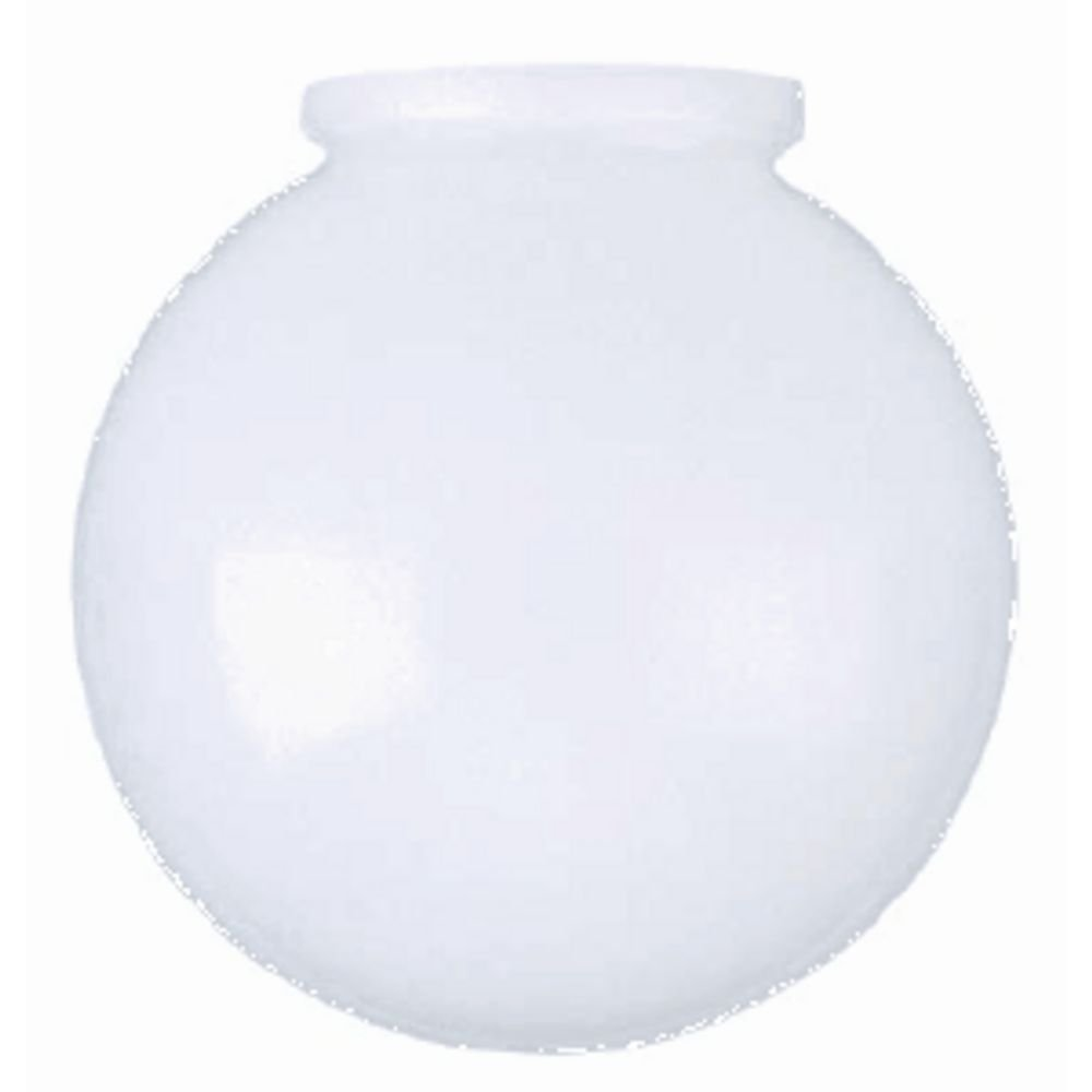6-Inch White Glass Globe - 3-1/4-Inch Fitter Opening