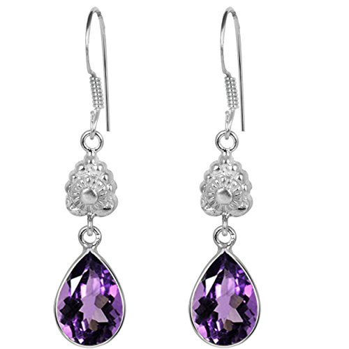 5.37 Ct Amethyst 925 Sterling Silver Dangle ()