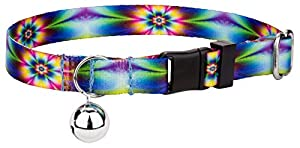 Country Brook Petz Tie Dye Flowers Feather Weight Cat Collar