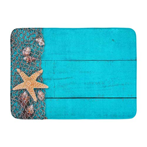 Entrance Door Carpet Indoor Carpet Entry Doormat Indoor Carpet Anti-Slip Back Doormat 16X24 Inches - Rustic Antique Teal Blue Aged Wooden Sign with Fish Net